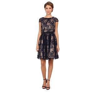 Jessica Howard Sleeve Shirred Neck Dress Full Skirt & Belt