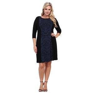 Karen Kane Plus Size Red Sky Jacquard Panel Dress