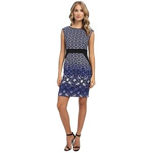 4.Rochie London Times Cap Sleeve Inset Waist Sheath