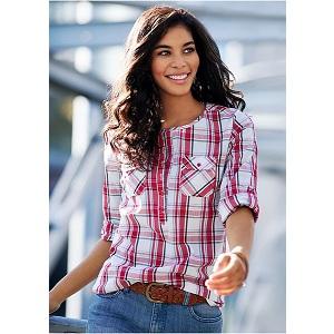 3.John Banner Jeanswear Plaid Blouse