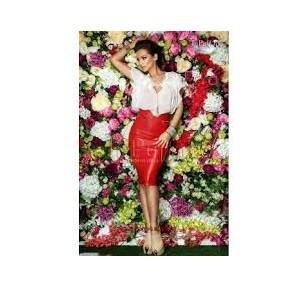 5. Fusta eleganta piele ecologica rosie talie inalta