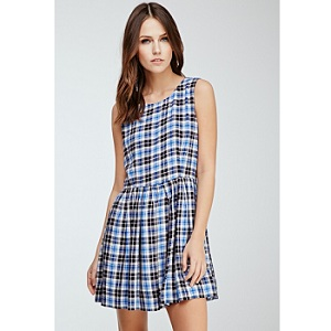 3.Forever 21 Pleated Plaid A-Line