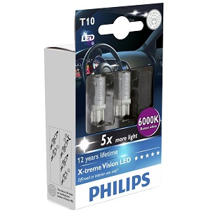 1.Philips W5W Xtreme Vision (interior, auxiliare)